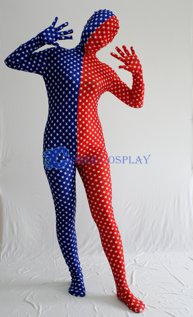 Star Red Blue Split Zentai Costume